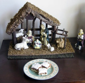 Plate of cookies with creche
