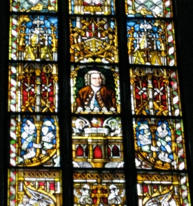 Bach stained glass window